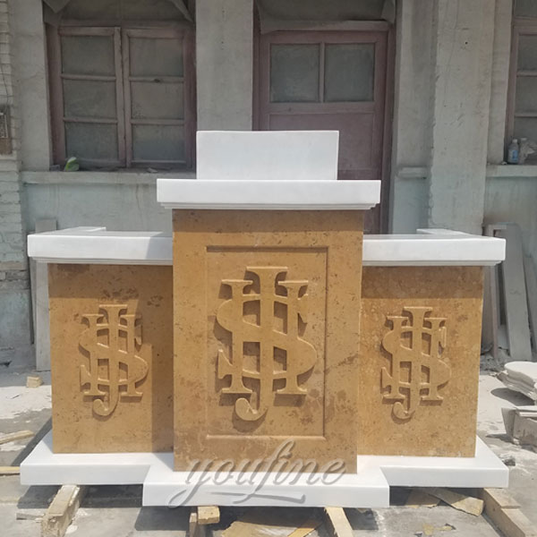 custom white marble altar table design for home- bronze ...