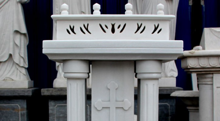 Catholic church furniture custom white marble pulpits podium manufacturers supply TCH-211