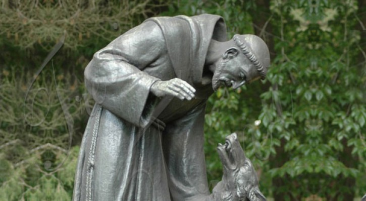 Bronze catholic outdoor st francis with wolf garden statues for sale TBC-31