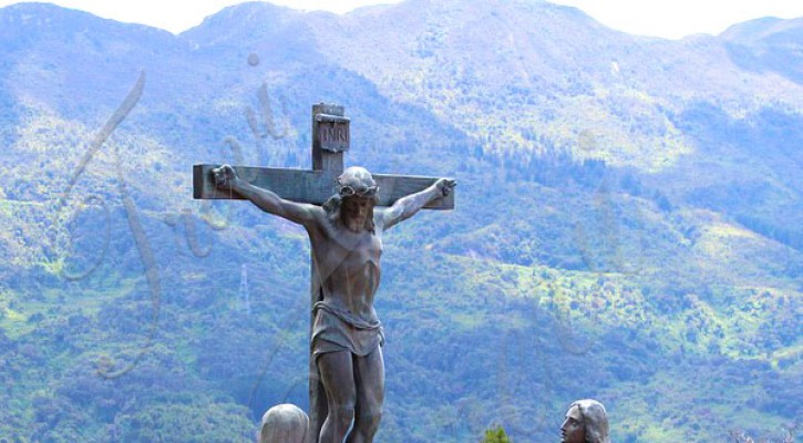 Bronze catholic outdoor statues crucifixes jesus on the cross design for sale TBC-45