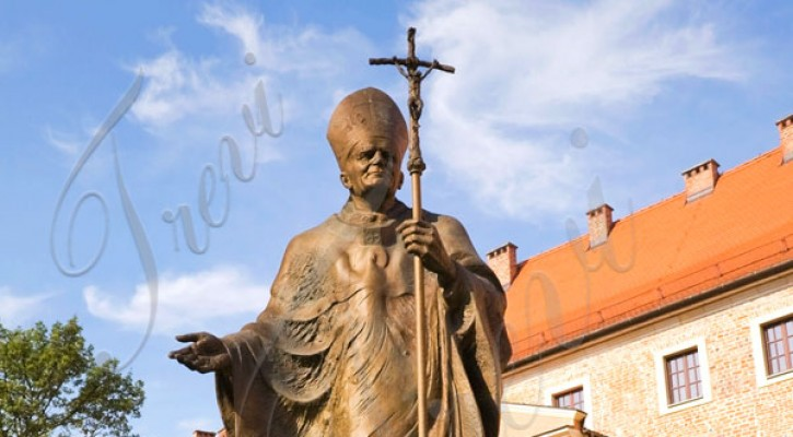 Bronze religious outdoor statues of pope catholic life size statues for sale TBC-14