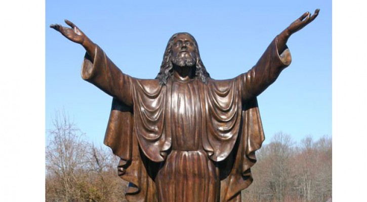 Large bronze religious statues of life size jesus open arms designs for sale TBC-46