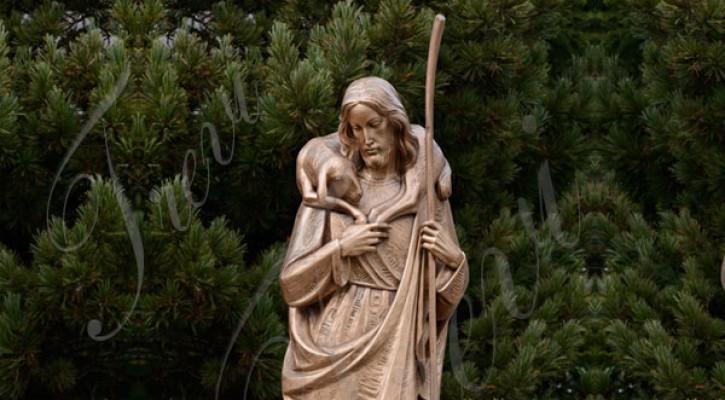 Large catholic garden bronze statues of the good shepherd jesus to buy TBC-21