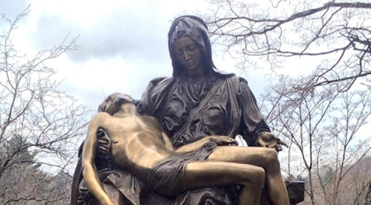 Outdoor bronze religious garden statues of michelangelo sculpture pieta famous replica  TBC-11