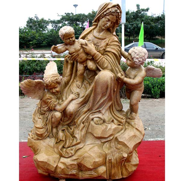 Catholic antique madonna and child angel outdoor beautiful virgin mary garden statues for church decoration TCH-78