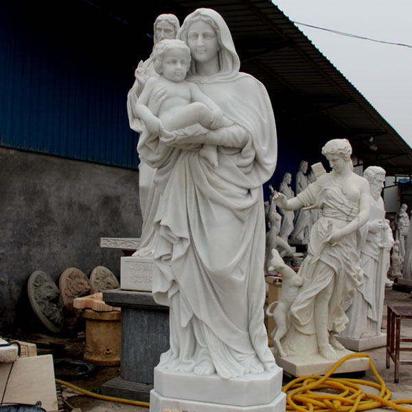 Catholic beautiful virgin mary garden statues of white Madonna and baby Christ statues for sale TCH-81