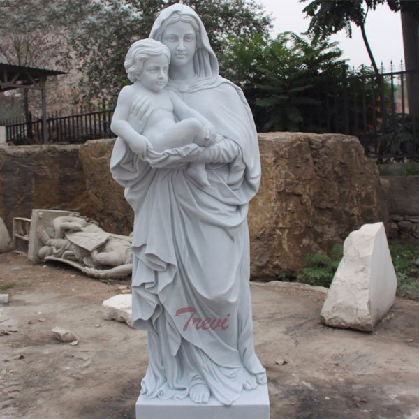 White marble Madonna with child beautigul virgin mary garden statues for outdoor catholic church TCH-80