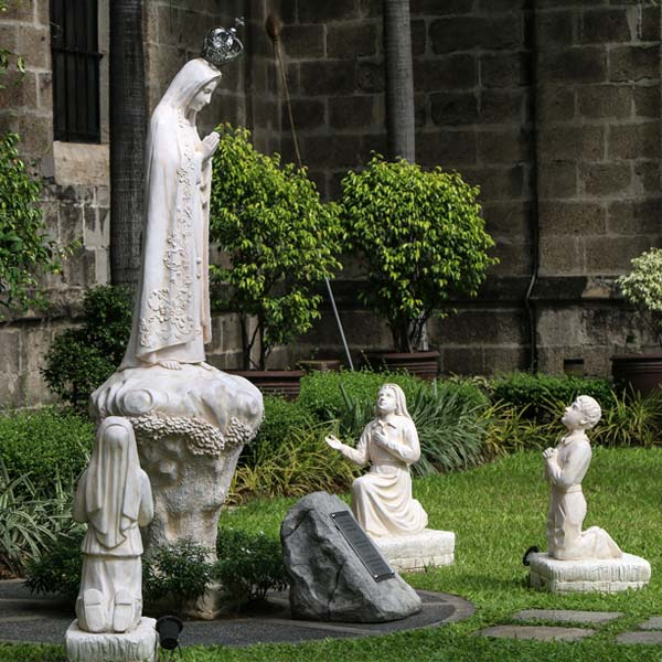 Outdoor blessed lady of fatima and three shepherd children religious church lawn statues online sale TCH-65