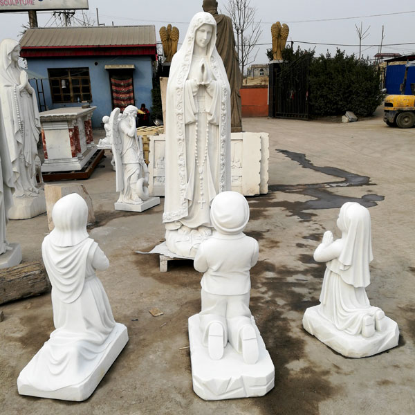 Outdoor blessed mother lady of fatima statue with three shepherd child catholic church lawn statues for sale TCH-64