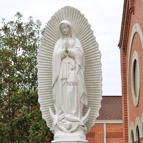 Buy religious church lawn decor white marble statue our lady of Guadalupe blessed virgin mary online TCH-199