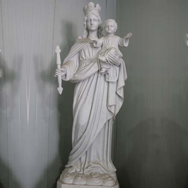 Catholic white marble our lady of mount carmel garden statue to buy TCH-86