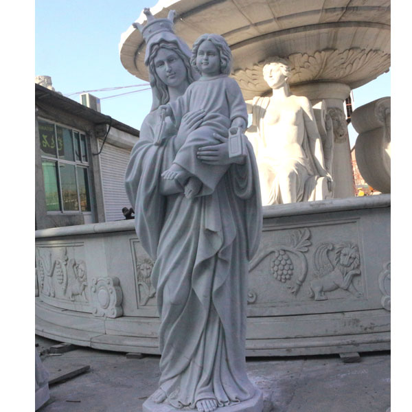 Vintage our lady of mt. carmel religious marble garden statues online sale TCH-87