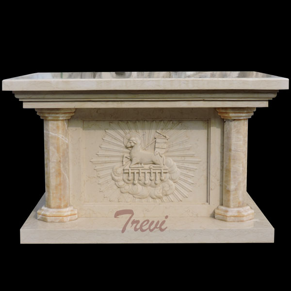 An antique beige marble stone altar table for church furniture using TCH-213