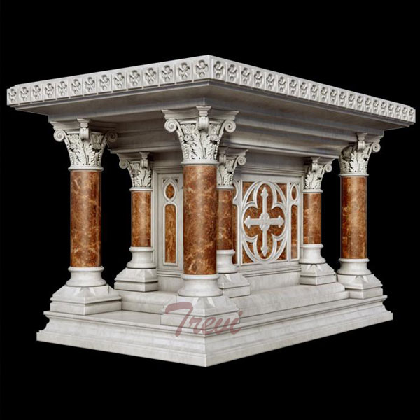 Buy modern luxury marble altar table designs for church decoration from factory TCH-216