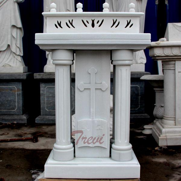 Catholic church furniture custom white marble pulpits podium manufacturers supply TCH-211