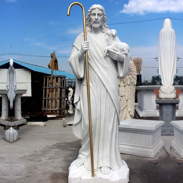 The good shepherd life size jesus hold lamb outdoor religious garden statues online sale TCH-200