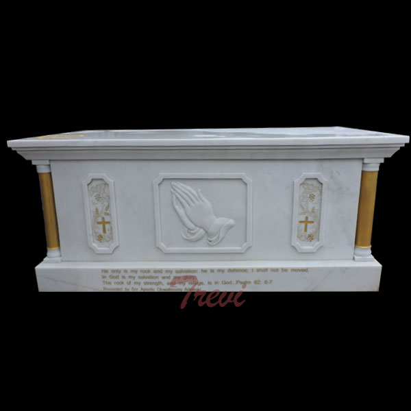 Buy White marble altar table catholic church furniture online TCH-219
