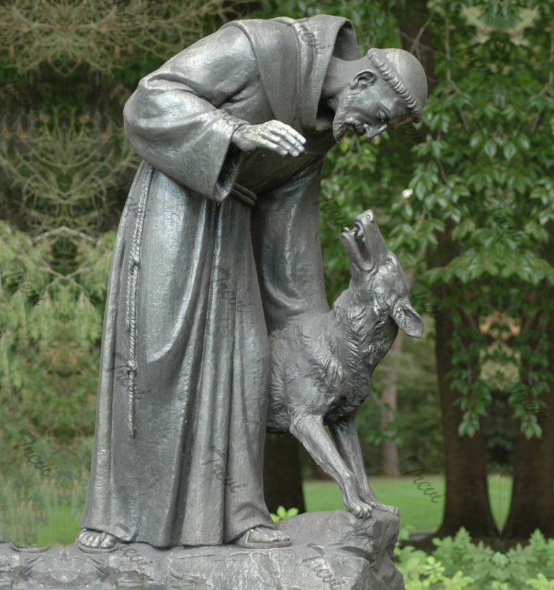 Bronze catholic outdoor st francis with wolf garden statues for sale
