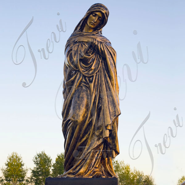 Bronze catholic outdoor statues of mother mary life size religious garden sculptures for sale TBC-35
