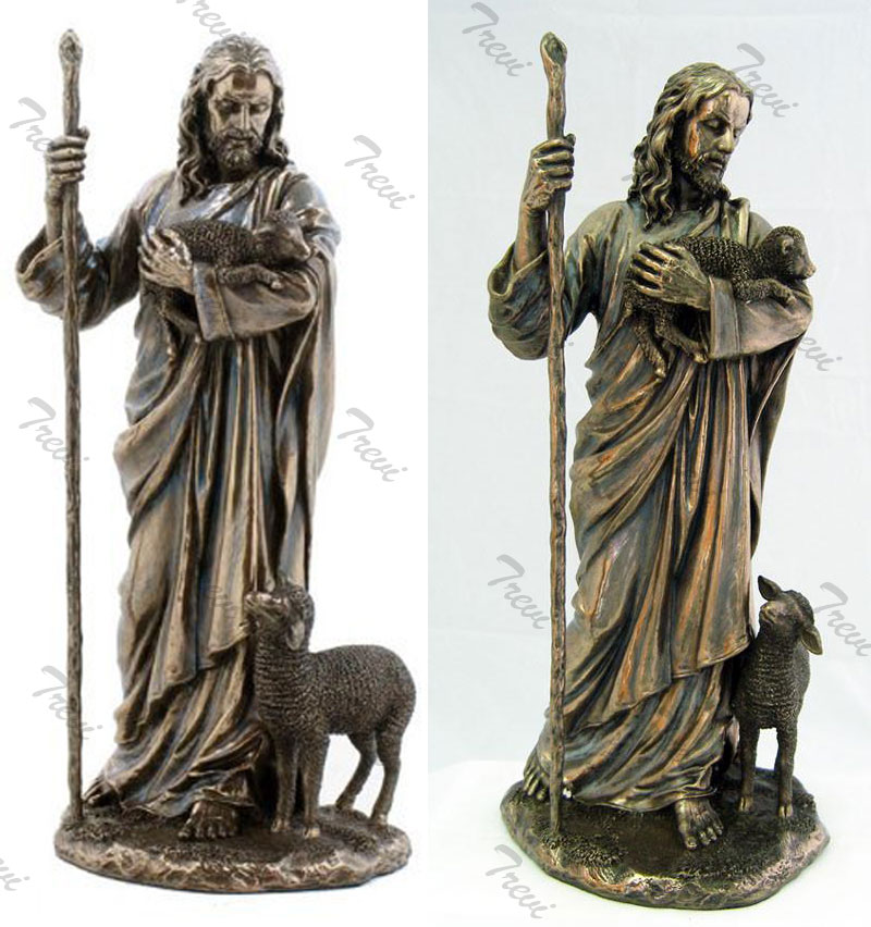 Bronze religious garden statues of the good shepherd for sale