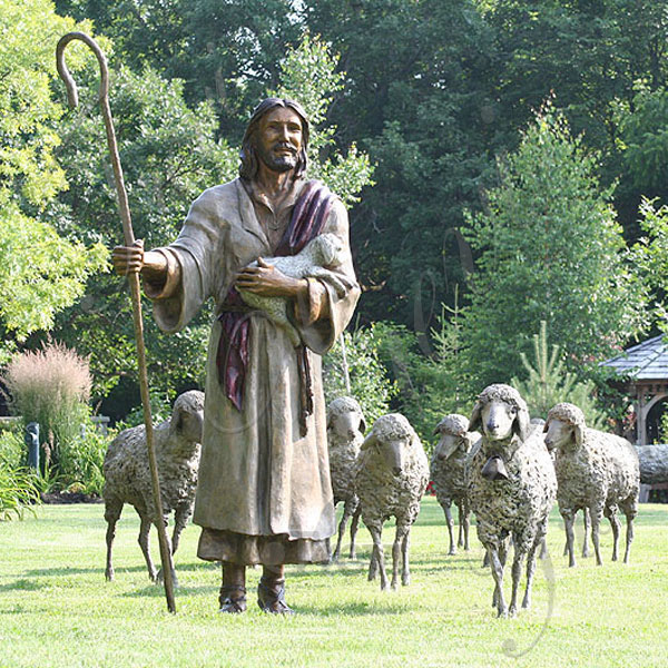 Bronze religious lawn statues of the good shepherd jesus with lambs group sculptures for sale TBC-22