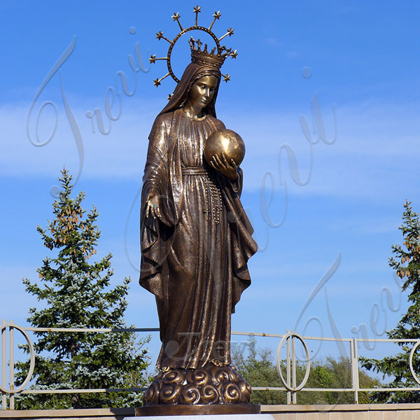 Bronze religious statues our lady of grace crowned mary holding globe outdoor decor TBC-33