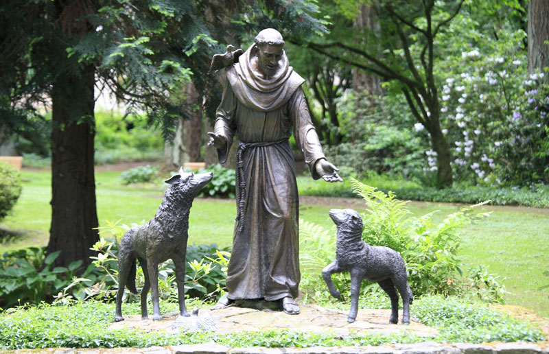 Bronze religious statues st frances with wolf garden statues for sale online