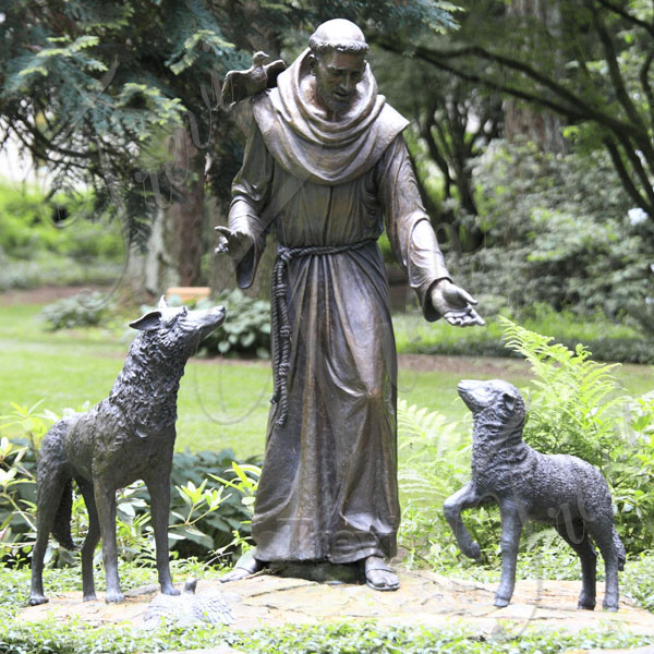 Bronze religious statues st frances with wolf garden statues for sale TBC-27