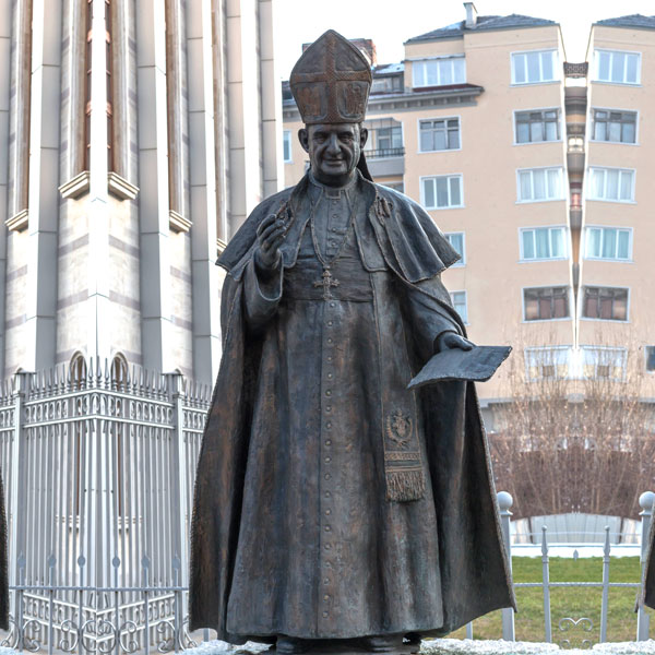 Catholic church lawn statues of life size bronze pope for sale TBC-19
