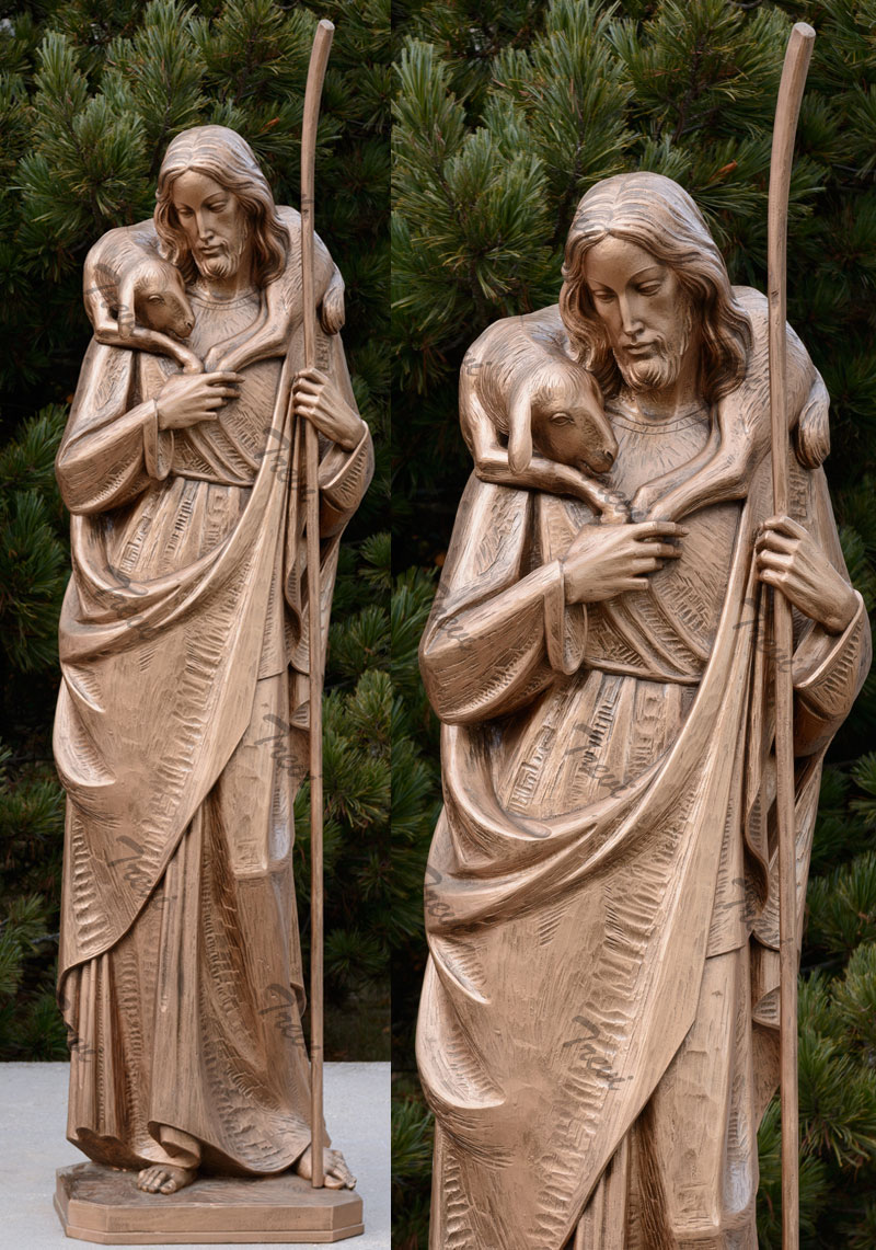 Large catholic garden statues of the good shepherd jesus to buy online
