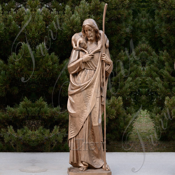 Large catholic garden bronze statues of the good shepherd jesus to buy TBC-21