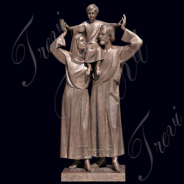 Large holy family jesus mary and joseph bronze religious garden statue for sale TBC-01