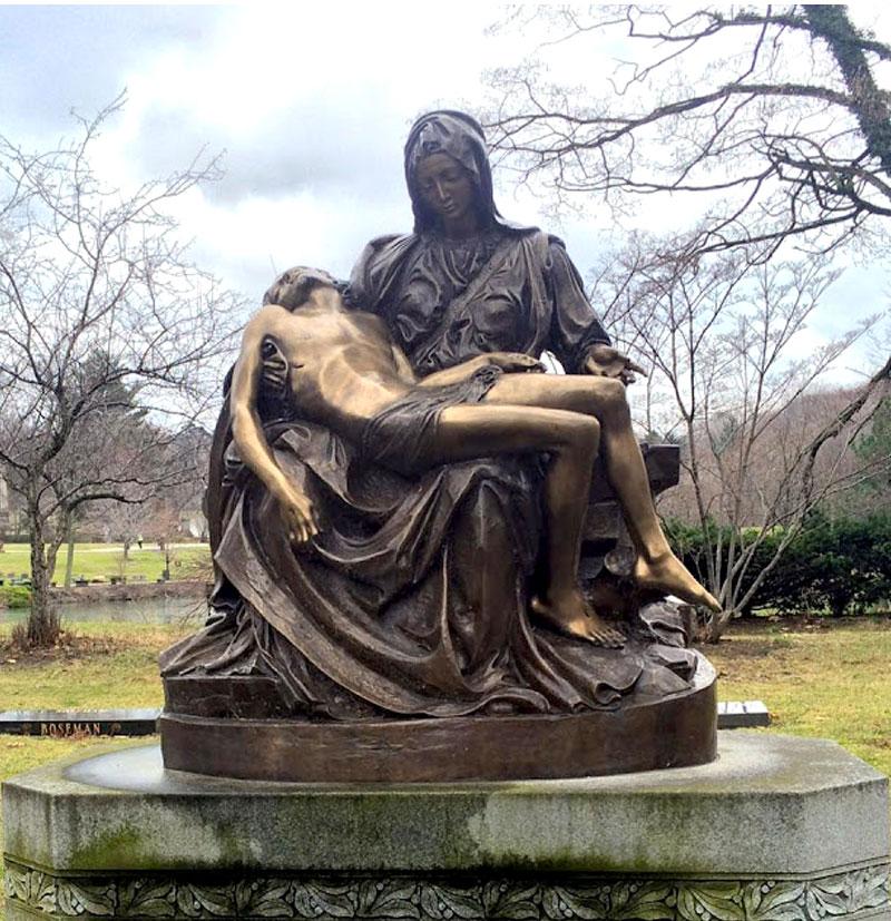 Outdoor bronze religious garden statue of michelangelo sculpture pieta famous replica