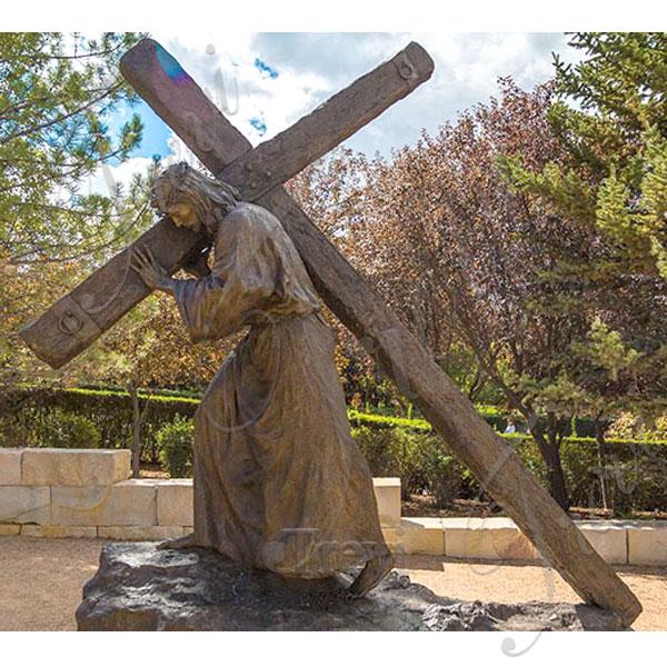 Outdoor bronze religious statues of jesus back cross to buy TBC-44