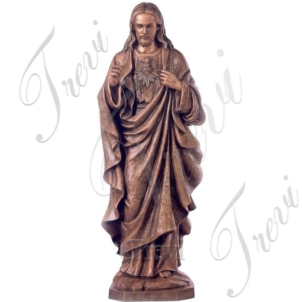 Outdoor bronze sacred heart of jesus religious garden statue large beautiful designs TBC-41