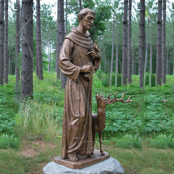 Religious garden statues of st francis with deer lawn ornament bronze art TBC-28