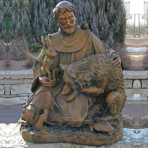 St francis with wolf bronze religious outdoor garden statue for sale TBC-29